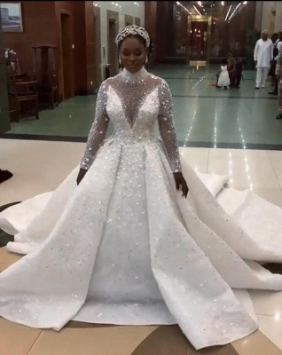 Gorgeous Sparkling Crystal Beads Ball Gown Wedding Dresses   High Neck Long Sleeve Bridal Gowns_3