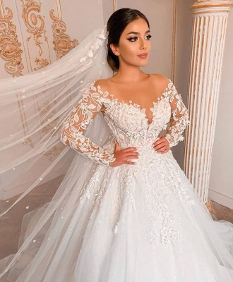 Appliques Sheer Tulle Ball Gown Wedding Dresses | Shiny Long Sleeve Cheap Bridal Gowns_3