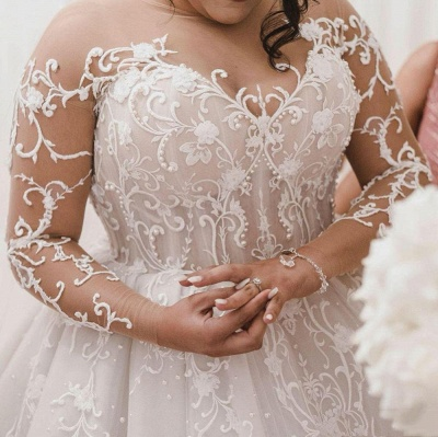 Sheer Tulle Appliques Ball Gown Wedding Dresses   Plus Size Long Sleeve Bridal Gowns_2