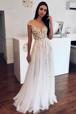 Appliques Sheer Tulle A-line Wedding Dresses | Sleeveless Tulle Pleated Bridal Gowns_1
