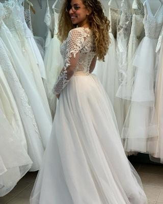 Manches longues Col Illusion A-ligne Manches longues Robe de mariée princesse en dentelle_5