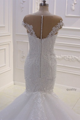 Off-the-Shoulder Sweetheart White Lace Appliques Tulle Mermaid Wedding Dress_4