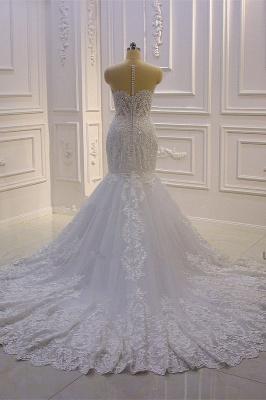 Vestido de novia de sirena de tul de cuello alto con apliques de encaje 3D de lujo_4