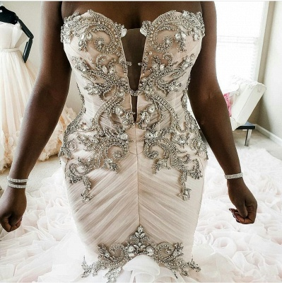 Plus Size Mermaid Crystal Lace Beads Sweetheart Long Train African Custom Made Ruffles Wedding Dresses_6
