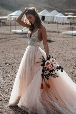 Spaghetti Straps Deep V-neck Beads Wedding Dresses | Sexy Tulle Floor Length Bridal Gowns_2