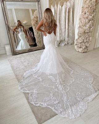 Lace Straps Mermaid Wedding Dresses | Bandage Appliques Cheap Bridal Gowns_3