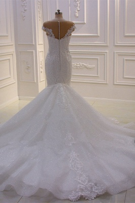 Off-the-Shoulder Sweetheart White Lace Appliques Tulle Mermaid Wedding Dress_5