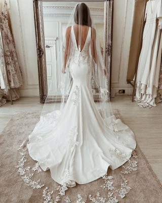 Straps Appliques V-neck Wedding Dresses | Mermaid Backless Cheap Bridal Gowns_3