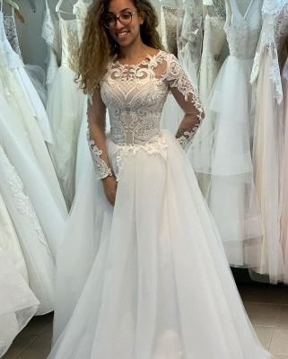 Manches longues Col Illusion A-ligne Manches longues Robe de mariée princesse en dentelle_3