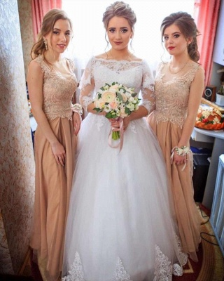 Lace Appliques Long Sleeve Wedding Dresses | Tulle Floor Length Bridal Gowns_3