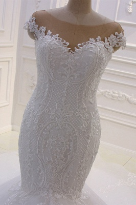 Off-the-Shoulder Sweetheart White Lace Appliques Tulle Mermaid Wedding Dress_3