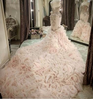 Plus Size Mermaid Crystal Lace Beads Sweetheart Long Train African Custom Made Ruffles Wedding Dresses_4