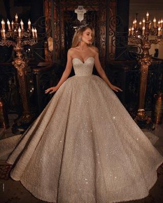 Роскошное пышное бальное платье с блестками и бусинами в форме сердца, свадебное платье_2