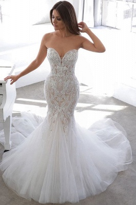 Simple Summer style White Sweetheart Mermaid Lace Wedding Dress Online_1