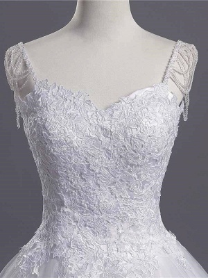 Sweetheart Beading Appliques A-line Wedding Dresses | Chic Tulle Pleated Bridal Gowns_3