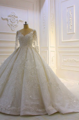 Sparkle 3D Lace Appliques Long Sleeves Church Train Wedding Dress_2