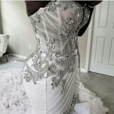 Plus Size Mermaid Crystal Lace Beads Sweetheart Long Train African Custom Made Ruffles Wedding Dresses_8