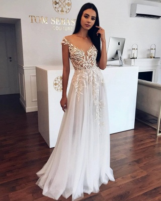 Appliques Sheer Tulle A-line Wedding Dresses | Sleeveless Tulle Pleated Bridal Gowns_2