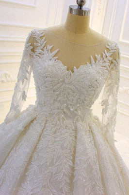 Sparkle 3D Lace Appliques Long Sleeves Church Train Wedding Dress_4