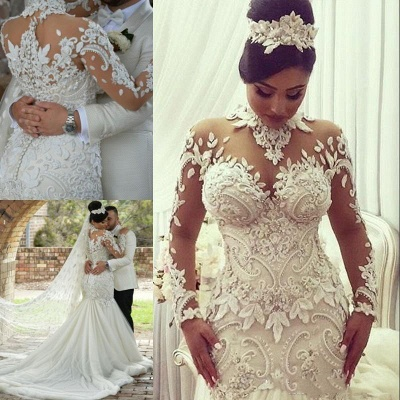 High Neck Beads Appliques Mermaid Wedding Dresses | Sheer Tulle Long Sleeve Bridal Gowns_4