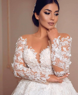 Appliques Sheer Tulle Ball Gown Wedding Dresses | Shiny Long Sleeve Cheap Bridal Gowns_4
