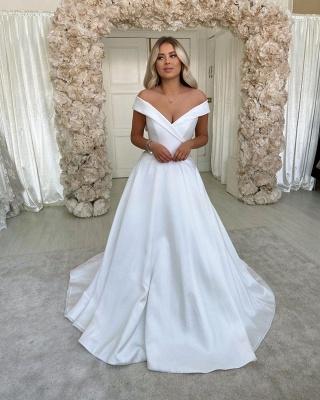 Robes de mariée A-ligne simples rétro blanches à l'épaule_3