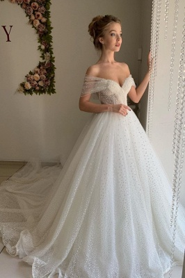 Trendy Off-the-shoulder Princess Pearl White Ball Gown Wedding Dresses_1