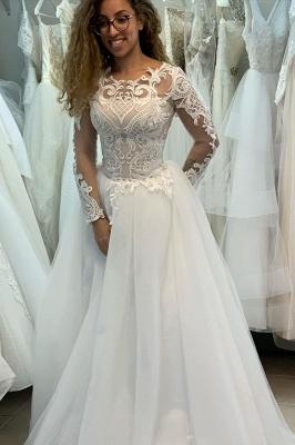 Manches longues Col Illusion A-ligne Manches longues Robe de mariée princesse en dentelle_1