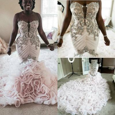 Plus Size Mermaid Crystal Lace Beads Sweetheart Long Train African Custom Made Ruffles Wedding Dresses_7
