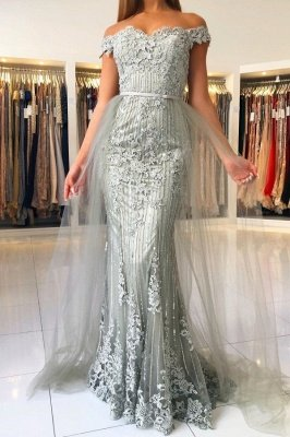 Elegant Princess Tulle Off-the-shoulder Lace Mermaid Prom Dresses