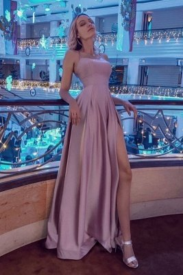 Simple Halter Backless Dusty Pink High split Long evening Dresses