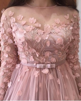 Long sleeves Floral Blow Dusty Pink Ball Gown Tulle Prom Dresses_5