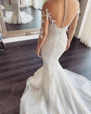 Lange Ärmel V-Ausschnitt Spitze Meerjungfrau weiß Brautkleider Online_2