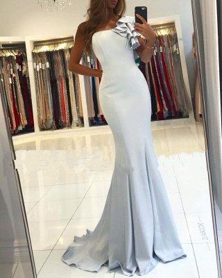 One shoulder ruffles Light Blue Mermaid Long Evening Dress_2