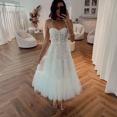Vintage White Strapless Short Summer Tulle Wedding Dress_2