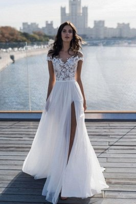 Off The Shoulder Appliques A-line Wedding Dresses | Cheap Side Split Tulle Bridal Gowns
