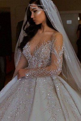 Sparkle Diamond Long sleeves Luxury Ball gown Wedding Dresses_2