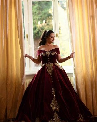 Off-the-shoulder Dark Burgundy Golden appliques Ball Gown Evening Dress_7