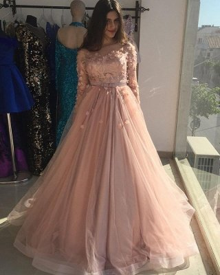 Long sleeves Floral Blow Dusty Pink Ball Gown Tulle Prom Dresses_3