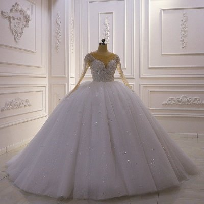 Sparkly Jewel Sequined Long Sleeves Princess Wedding Dress_4
