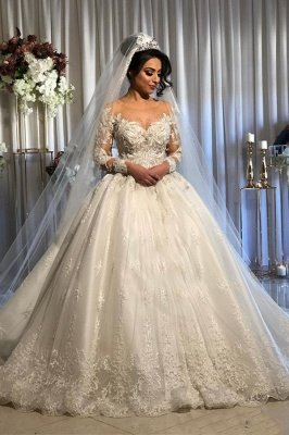 Appliques Beads Ball Gown Wedding Dresses | Sheer Tulle Long Sleeve Bridal Gowns
