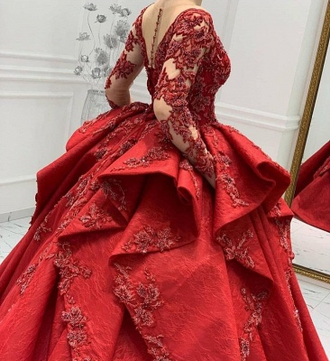 Burgundy Lace Appliques Long sleeves V-neck Ruffles Ball Gowns Evening Gowns_5
