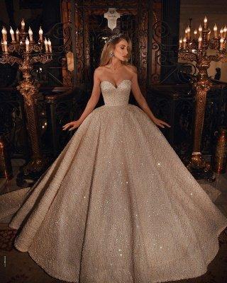 Vestido de novia de vestido de bola hinchado con cuentas brillantes de novia de lujo_2