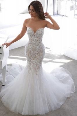 Einfache Sommerart White Sweetheart Mermaid Lace Brautkleid Online_1