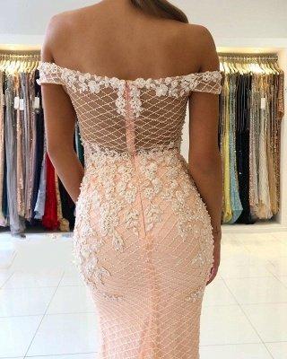 Off-the-Shoulder Pink Lace Appliques Meerjungfrau Abendkleid_4
