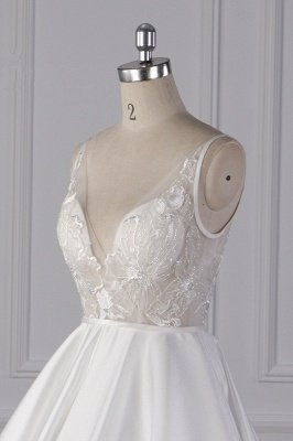 Straps Beads Appliques Ball Gown Wedding Dresses | Sexy V-neck Backless Bridal Gowns_5