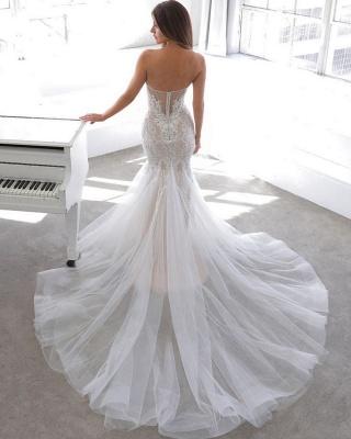Einfache Sommerart White Sweetheart Mermaid Lace Brautkleid Online_4