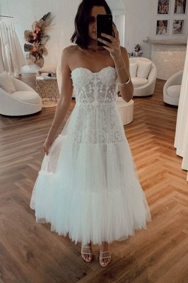 Vintage White Strapless Short Summer Tulle Wedding Dress_1