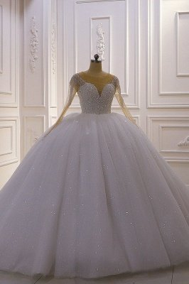 Sparkly Jewel Sequined Long Sleeves Princess Wedding Dress_1