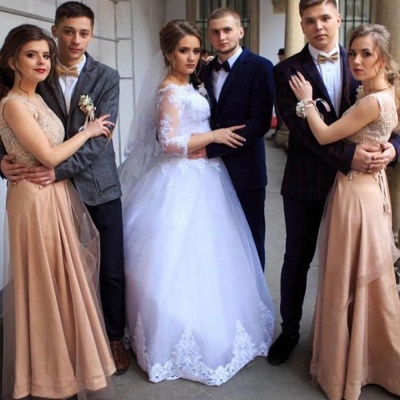 Кружевные аппликации с длинным рукавом свадебные платья | Свадебные платья длиной до пола из тюля_2